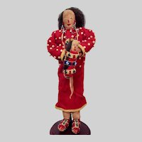 """12"""" Native American Lakota Indian hide doll with a baby"""