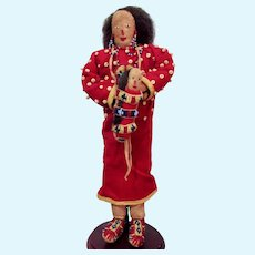"""12"""" Native American Plains Indian hide doll with a baby"""