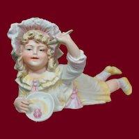 """8"""" German All-Bisque Figurine """"Miss Muffet"""" by Gebruder Heubach"""