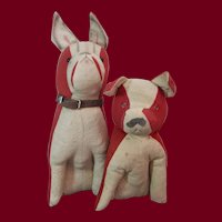 Two Amusing French Felt Dogs 1920s