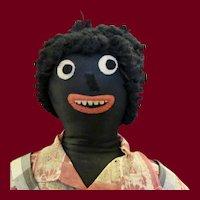 "30"" Vintage Handmade Black Cloth Doll"