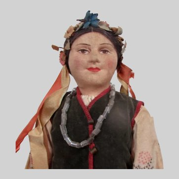 "15"" Vintage Russian Cloth Doll - Ukrainian Woman"
