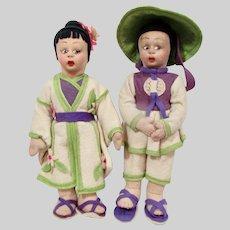 Pair of Fiore, Lenci-type Asian dolls