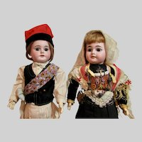 "Pair of 18"" German Bisque A.M. 1894 Dolls in Original Ethnic costumes"