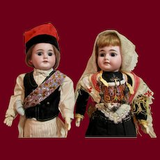 """Pair of 18"""" German Bisque A.M. 1894 Dolls in Original Ethnic costumes"""