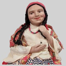 """18"""" Rare Antique Russian Tea Doll, Gypsy"""
