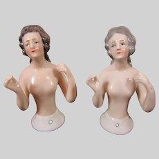 Pair of German Porcelain Half-Dolls, Arms-away