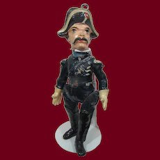 8 in. French Papier-mache Comical Military Man Doll