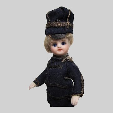4.5 in. French All-bisque Mignonette in Military Costume
