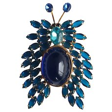 Huge Blue Multi Stone Butterfly Pin, marked D