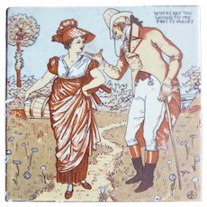 Victorian Tile: Where are you going my Pretty Maid? by Mosaic