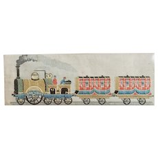 1880's Stephengraph The Present Time,  Train, Woven in Silk, Thomas Stevens Inventor