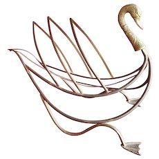 Brass Swan Magazine Rack, Maison Jansen Mid Century Mod