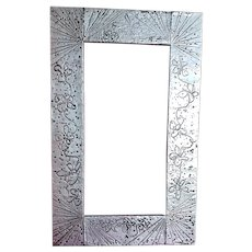Funky 70's  Flower Power, Hammered Metal Picture/Mirror Frame Artist signed