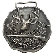 National Sportsman Sterling Advertising Watch Fob, for the lovers of Sports, Rod & Gun