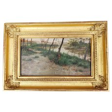 19th Century Italian Oil Painting:  Path by River in Forest by CESARE TIRATELLI
