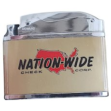 Howard Advertising Cigarette lighter, Nation-Wide Check Corp, unused in Box