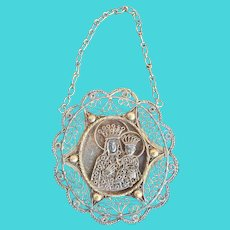 Antique Polish 875  Silver Icon of Mother and Child