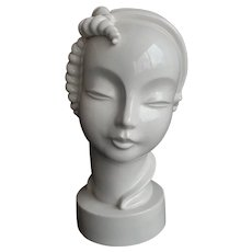 "10"" Art Deco Ceramic Bust, Highly Stylized, Kent Art Ware"