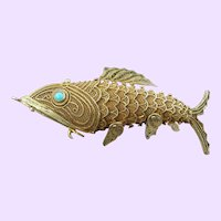 Vintage Articulated Chinese Filigree Fish Pendant