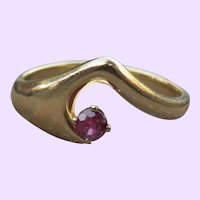 Mid Century Ruby Swoop Ring
