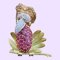 Retro 18k Diamond & Ruby Bird Brooch