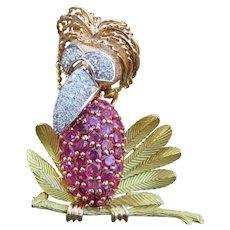 Retro 18k Diamond & Ruby Bird Brooch