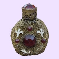 Vintage Jeweled Scent Bottle with Red Glass Jewels and Filigree