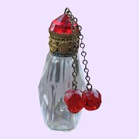 Glass Czechoslovakian Perfume Bottle with Red Jewel Dangles