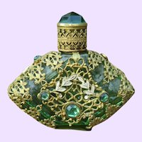 Vintage Green Glass & Filigree Scent Bottle