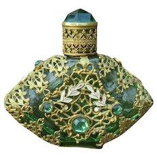 Vintage Green Glass & Filigree Scent Bottle