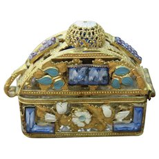 Vintage Scent Bottle in Jeweled Case