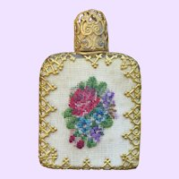 Vintage Miniature Scent Bottle with Petit Point