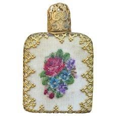 Vintage Miniature Scent Bottle with Petit Point
