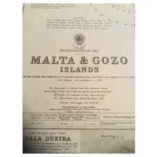Malta & Gozo Islands, a vintage British Admiralty sea chart from 1919