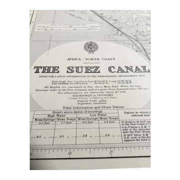The Suez Canal, 1956 edition - a genuine vintage British Admiralty sea chart