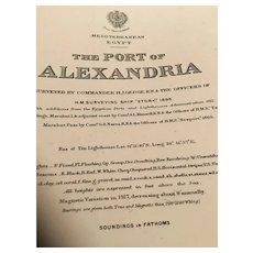 EGYPT, Alexandria Port 1918 edition British Admiralty sea chart