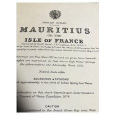 Mauritius - A vintage British Admiralty sea chart printed in 1914