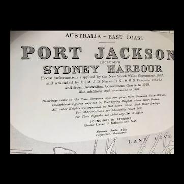 AUSTRALIA, Port Jackson & Sydney Harbour, 1963 edition British Admiralty sea chart