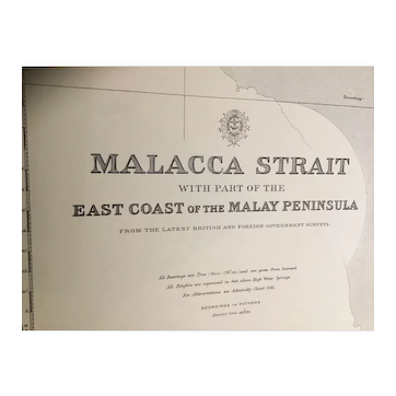 THE MALACCA STRAIT, (including Singapore Strait), 1922 edition British Admiralty chart