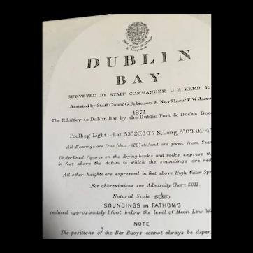 Dublin Bay, 1912 - A nice British Admiralty sea chart.