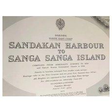 BORNEO, south-east coast - Sandakan Harbour to Sanga Sanga Island, 1914 edition sea chart