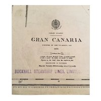 GRAN CANARIA, 1848 edition British Admiralty sea chart