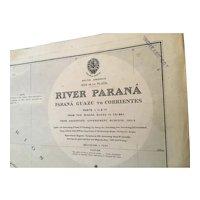 SOUTH AMERICA, Rio de La Plata - River Parana, 1909 edition chart