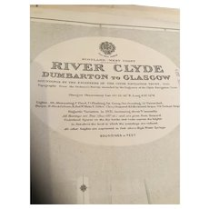 The River Clyde from Dumbarton to Glasgow - A vintage British Admiralty sea chart printed in 1922