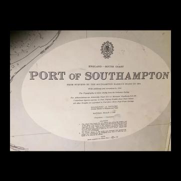 ENGLAND, Port of Southampton, 1957 edition British Admiralty sea chart