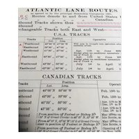 Shipping Lane Routes across the North Atlantic Ocean, 1937 edition British Admiralty sea chart