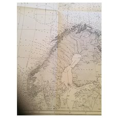 The Greenland & Barents Seas, An original vintage chart from 1923
