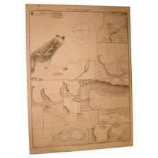 WEST INDIES, Plans of Ports in Haiti & Santo Domingo, 1907 edition chart