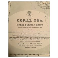 British Admiralty sea chart The Coral Sea & Great Barrier Reefs off Australia's north east coast, 1914 edition
